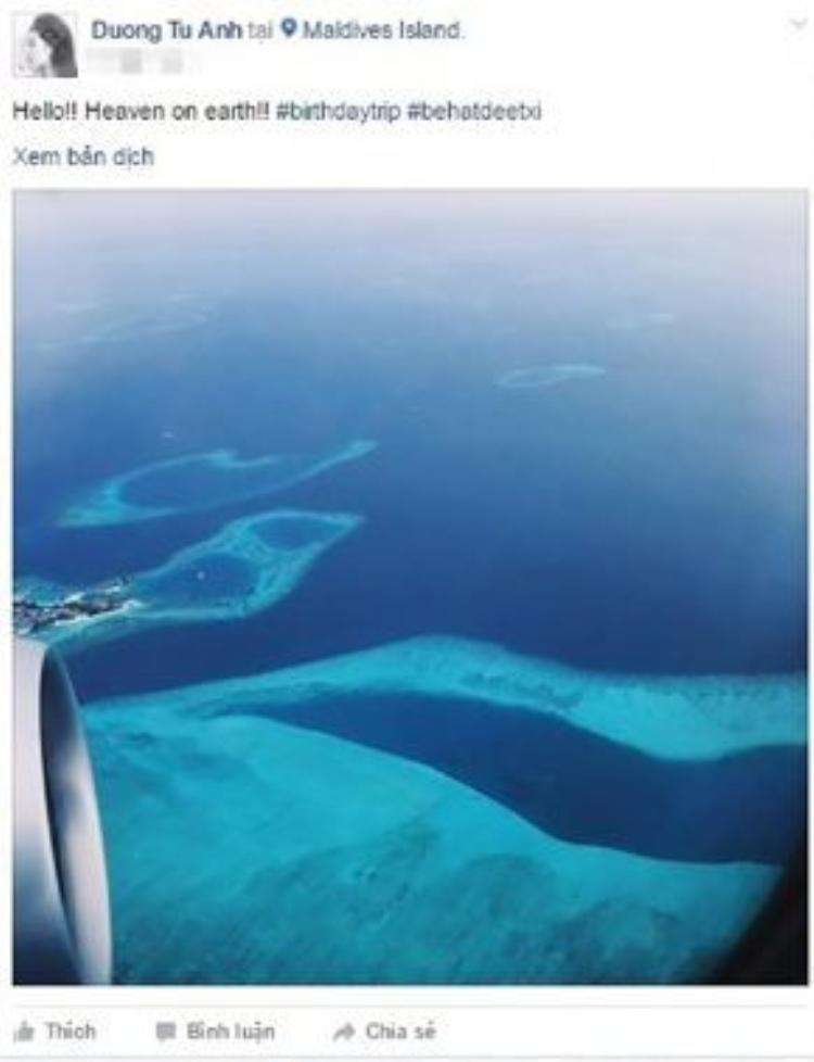 Tú Anh và bạn trai có chuyến du lịch mừng sinh nhật tuổi 23 tại thiên đường Maldives.