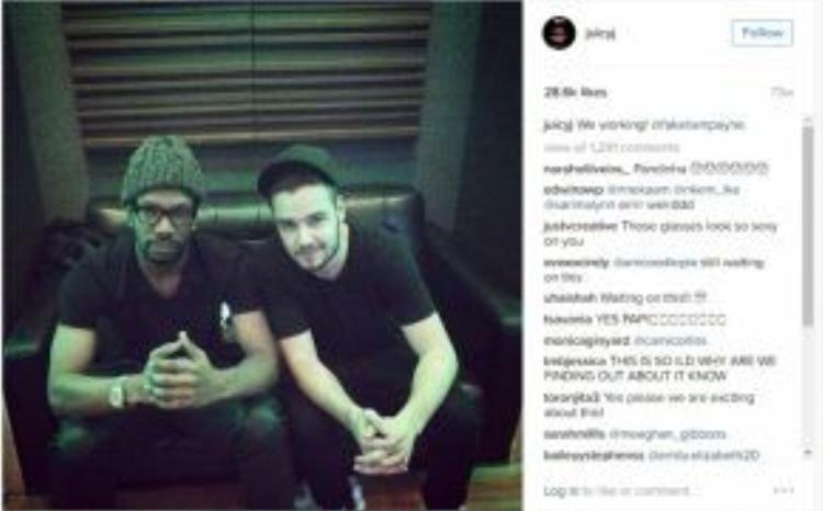 Juicy J đăng tải hình ảnh trên Instagram khi đang trong phòng thu âm cùng Liam.