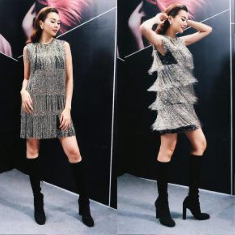 … bạn thân Thanh Hằng cũng chẳng hề kém cạnh khi xuất hiện sành điệu, rạng rỡ ghi hình cho cuộc thi tìm kiếm người mẫu lớn nhất trong năm.