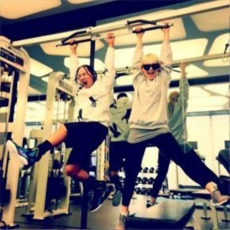 CL và Taeyang tại phòng tập fitness.