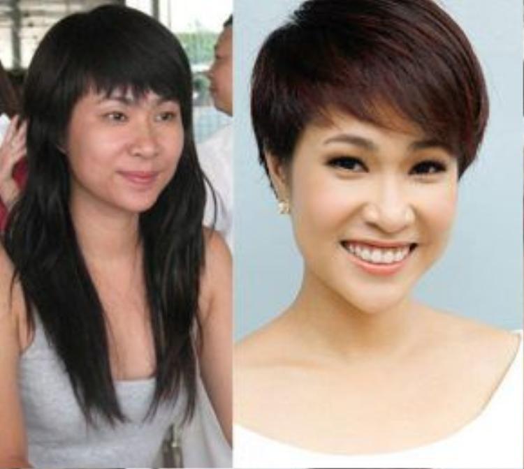 Uyên Linh tương tự như Phương Mai. Mái tóc ngắn giúp giọng ca Cảm ơn tình yêu trẻ ra chục tuổi.