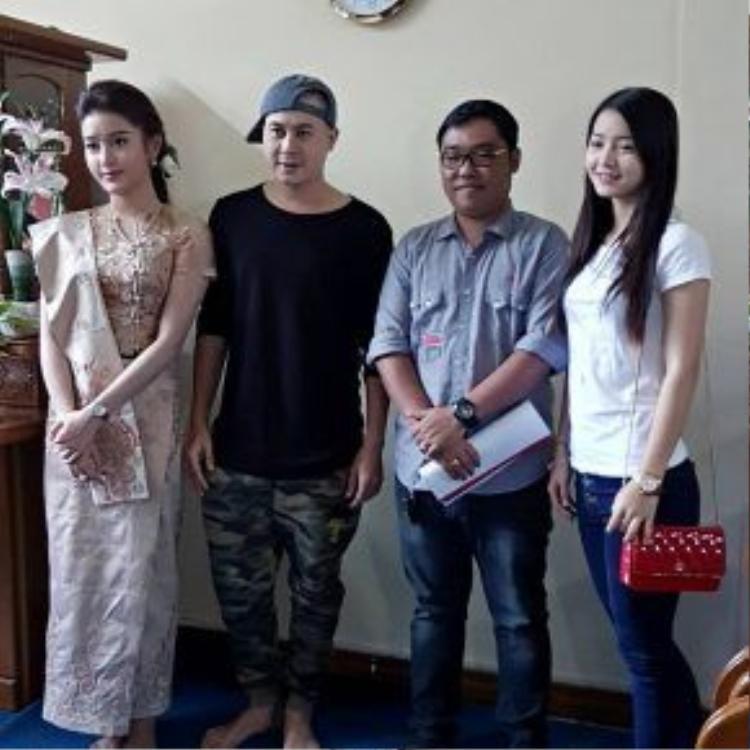 Á hậu Việt Nam đọ sắc cùng diễn viên Myanmar.