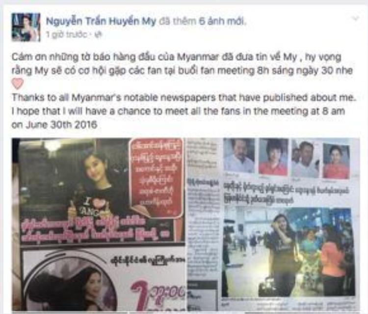 """""""Cám ơn những tờ báo hàng đầu của Myanmar đã đưa tin về tôi, hy vọng rằng tôi sẽ có cơ hội gặp người hâm mộ tại buổi fan meeting 8 giờ sáng ngày 30/6 nhé"""" - Huyền My viết."""