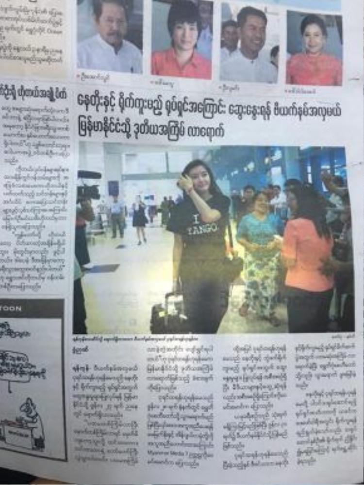 Á hậu Huyền My xuất hiện rầm rộ trên truyền thông Myanmar.