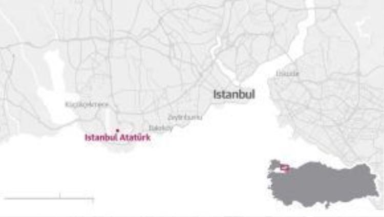 Bản đồ thành phố Istanbul, nơi vụ đánh bom ở sân bay xảy ra ngày 29/6. Đồ họa: Guardian.
