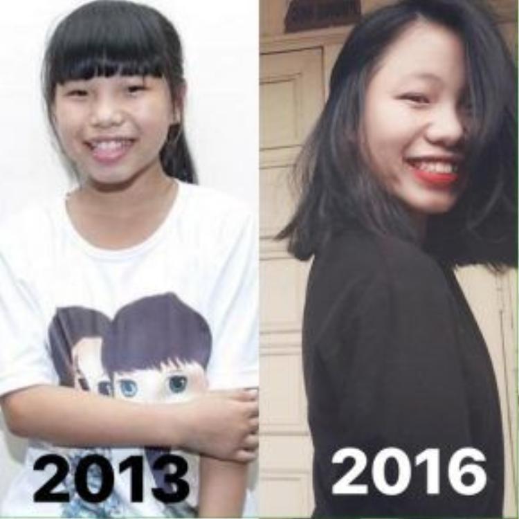 Sự thay đổi khá rõ rệt của Thu Hà. Khi còn là thí sinh của Giọng hát Việt nhí, dường như cô bé không hề biết tới những đồ trang điểm.