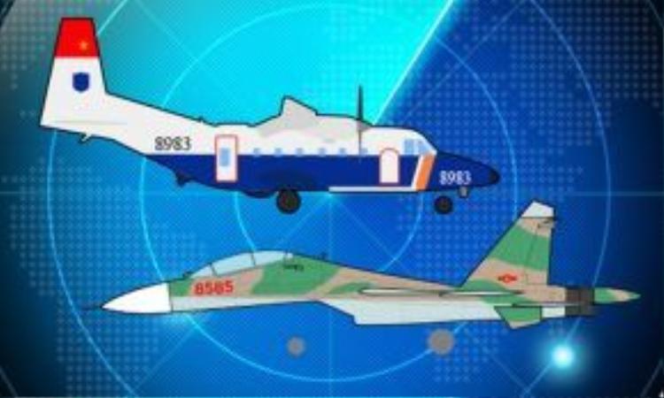 Nửa tháng tìm dấu vết máy bay Su 30 và CASA gặp nạn. Đồ họa: Việt Chung.