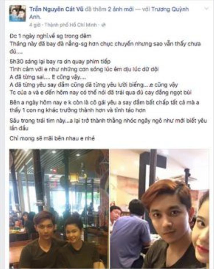 Những lời ngọt ngào của TIm dành cho Trương Quỳnh Anh.