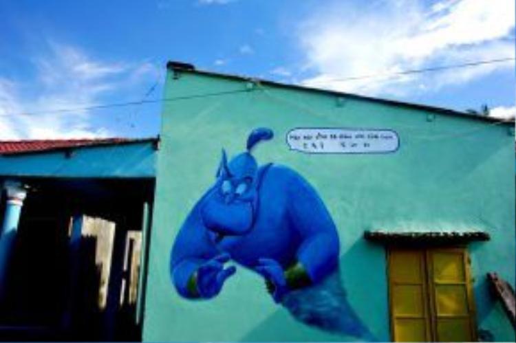 Bức tranh vui nhộn trên tường nhà rất được trẻ em hưởng ứng.