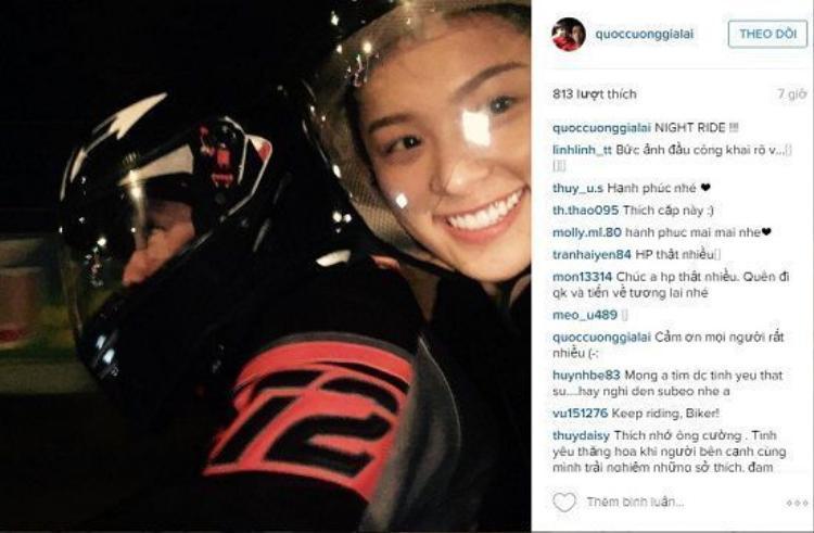 Ngày 13/3/2016, Cường Đô La lần đầu tiên khoe ảnh bạn gái Hạ Vi trên trang Instagram.