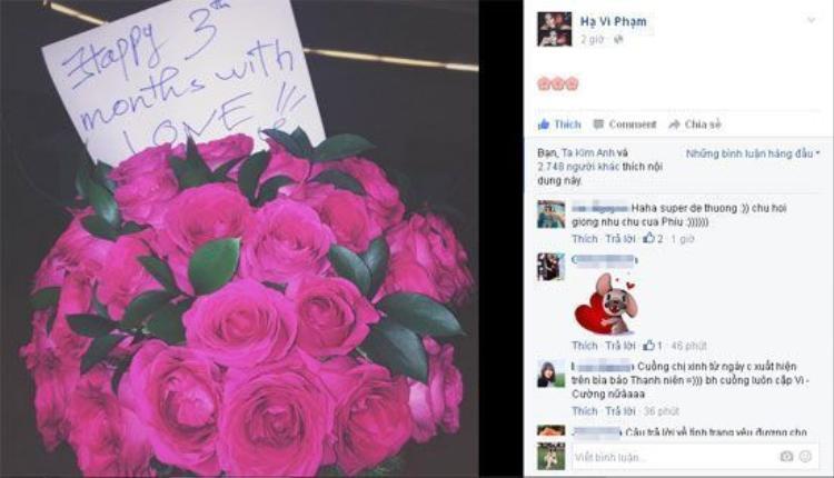 """Dĩ nhiên, khi yêu ai chẳng cãi nhau nên nhanh chóng sau đó cặp đôi đã làm lành. Hạ Vi """"khoe"""" bó hoa hồng được bạn trai tặng kỷ niệm 3 tháng yêu nhau."""