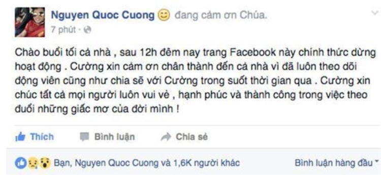 Ngày 26/04/2016 Cường Đô La tuyên bố đóng cửa Facebook và Instagram.