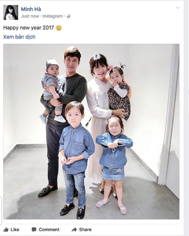 """""""Gia đình Lý Hải - Minh Hà xin chúc cả nhà năm mới sung túc, lắm phúc nhiều duyên, trong túi nhiều tiền, tâm hồn vui sướng. Happy new year 2017″ - bà xã của Lý Hải thay mặt gia đình chúc mừng năm mới."""