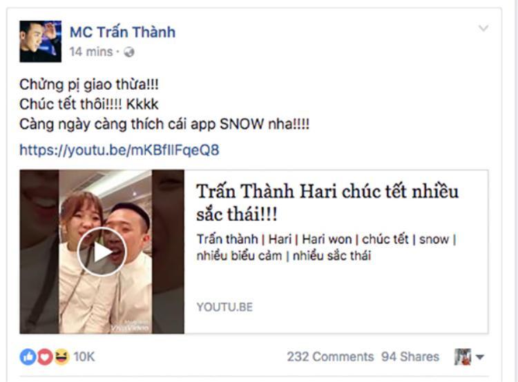 Vợ chồng Hari Won và Trấn Thành khiến các fan bấn loạn với một đoạn video ngắn chúc mừng năm mới 2017.