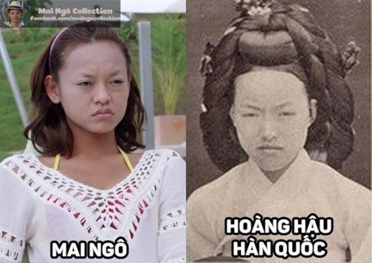 Thật ngạc nhiên, Mai Ngô lại quá giống với vị Hoàng hậu Hàn Quốc thời xa xưa với không chân mày.