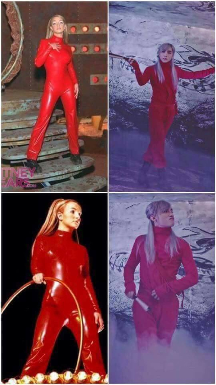 Bộ trang phục màu đỏ của Sơn Tùng liệu có lấy cảm hứng từ Britney nhiều năm trước không nhỉ?