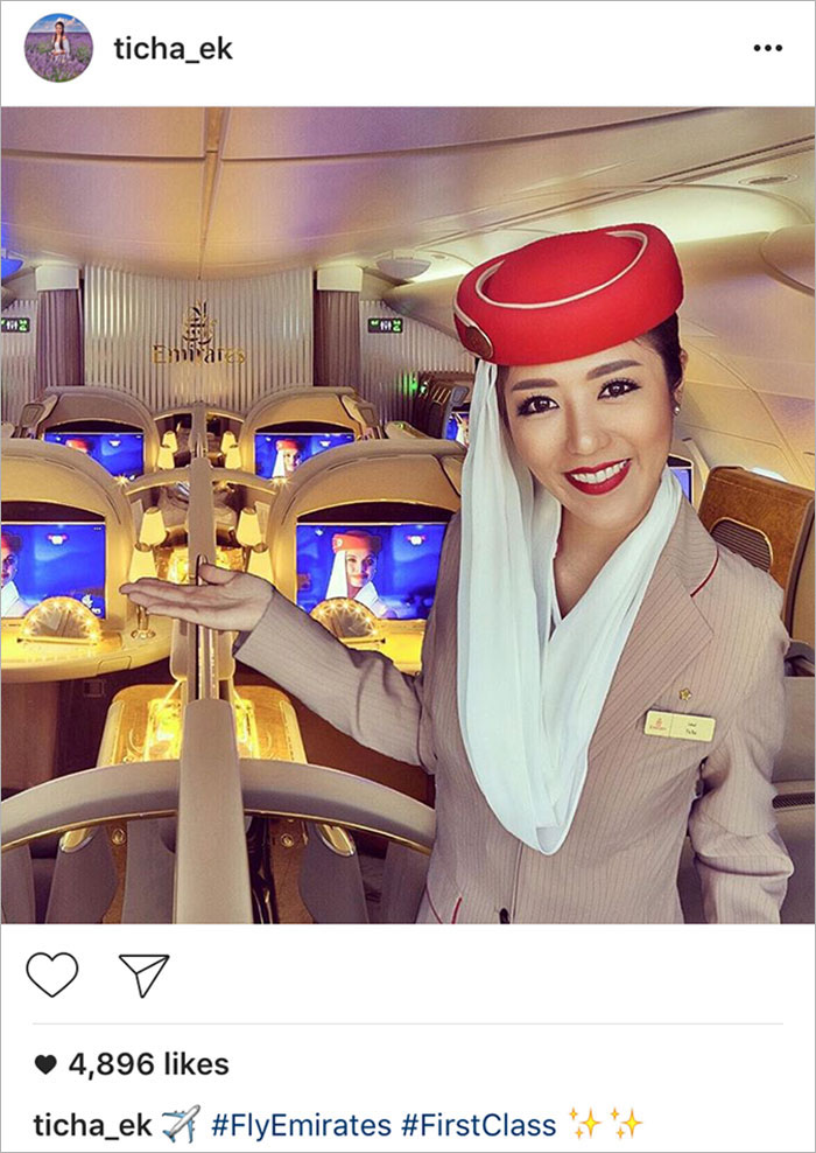 Trong một bức ảnh khác, Louktarn Ticha đã photoshop hình ảnh của mình trong trang phục tiếp viên vào một bức ảnh sẵn có được chụp bởi một hãng hàng không sang trọng.