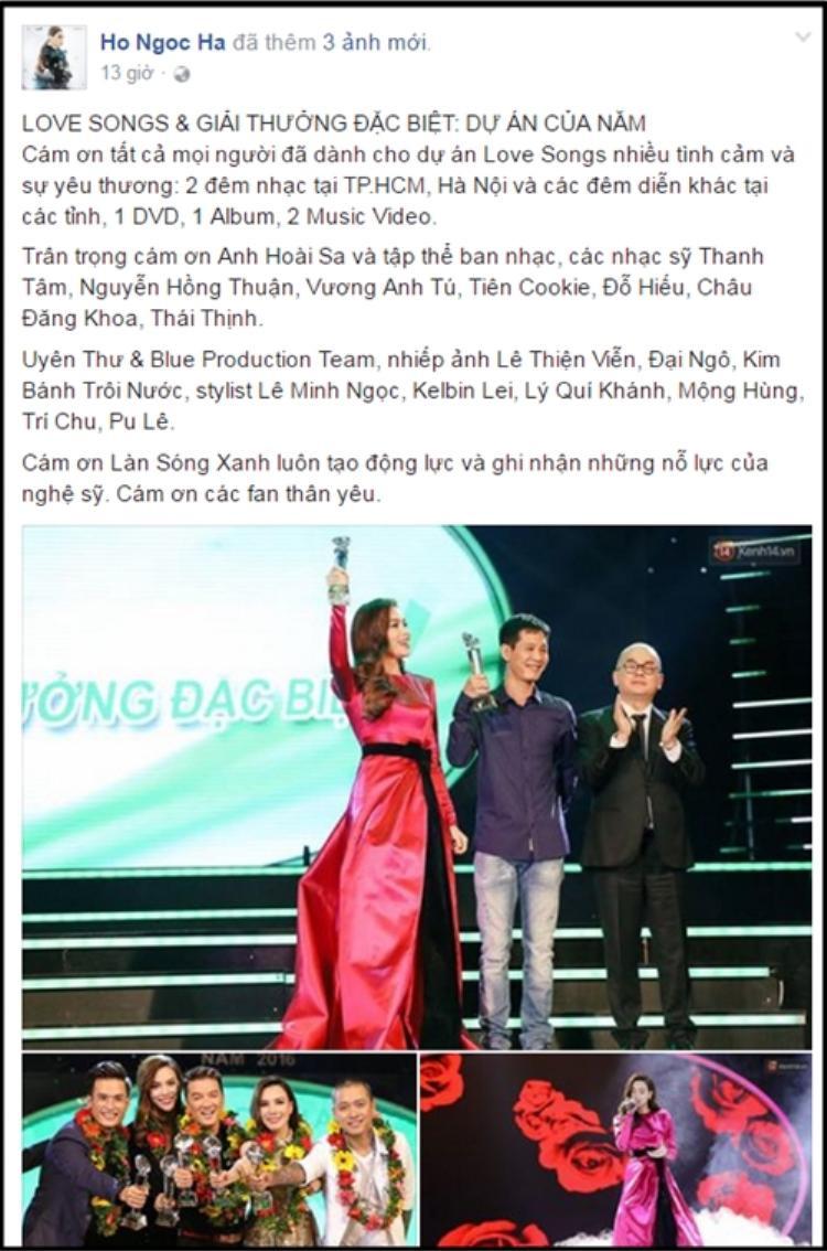 Hà Hồ cảm ơn fan và ekip đã giúp cô có được giải thưởng Dự án của năm cùng Love Songs.