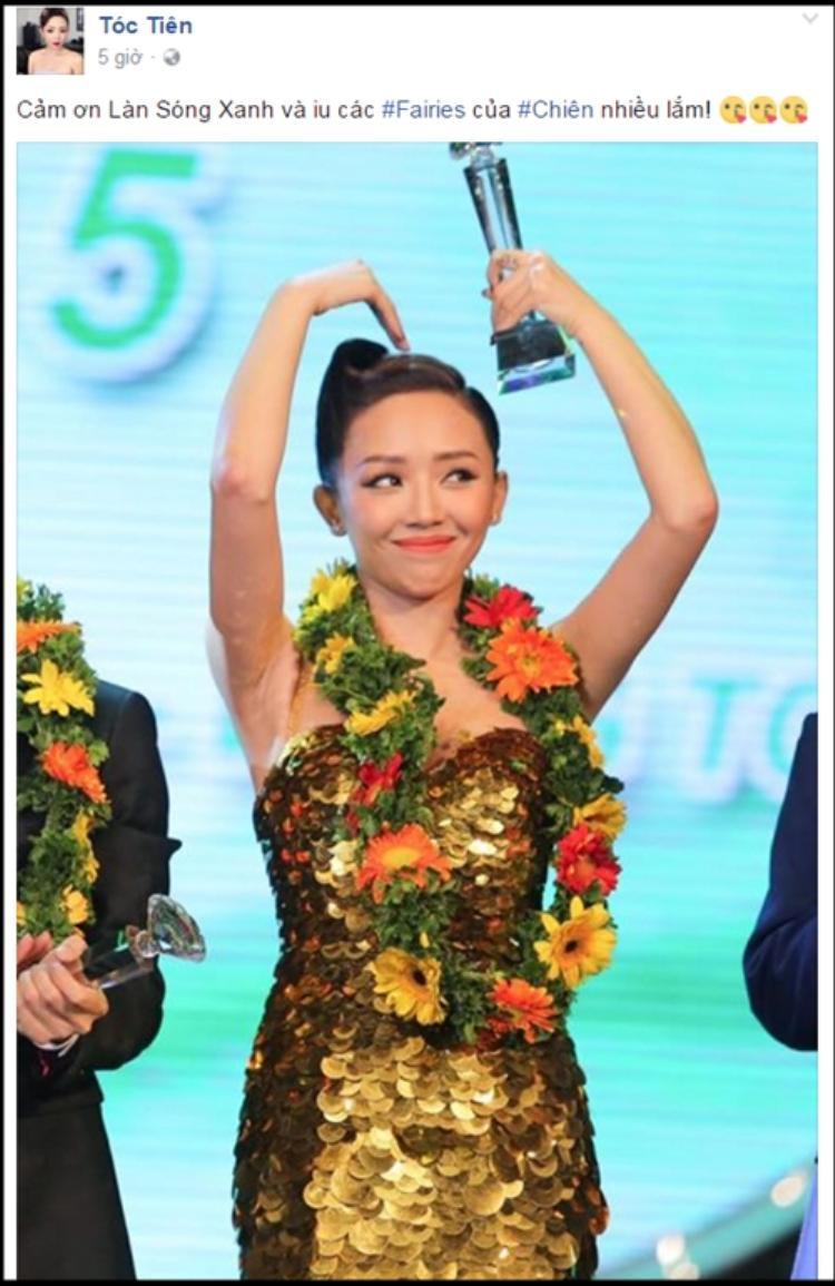 Tóc Tiên gửi lời cảm ơn tới fan và chương trình.