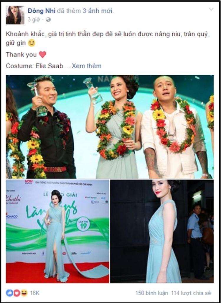 Đông Nhi cũng không quên gửi lời cảm ơn tới ekip hậu Làn sóng xanh.