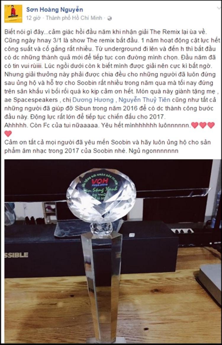 Với Soobin Hoàng Sơn, giải thưởng lần này chia đều cho toàn bộ e-kip đứng sau và hỗ trợ anh suốt một năm qua.