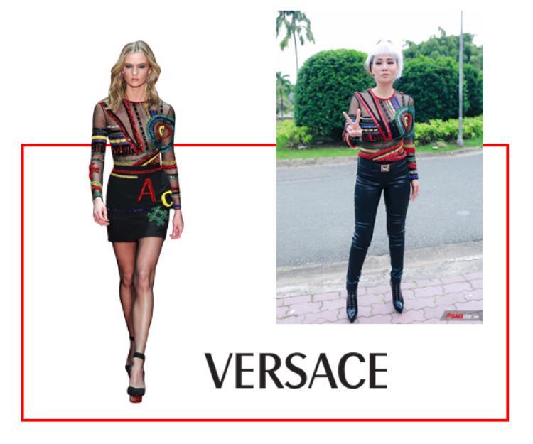 Nữ ca sĩdiện một mẫu áo đính kết xuyên thấu đến từ thương hiệu Versace.