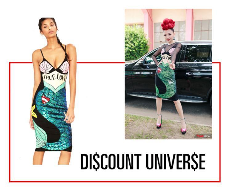 Bộ trang phục đặc biệt của nữ ca sĩ Tóc Tiên đến từ thương hiệu Discount Universe.