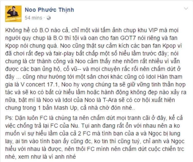 """Nam ca sĩ chính thức lên tiếng để """"minh oan"""" cho cộng đồng người hâm mộ GOT7 tại Việt Nam."""