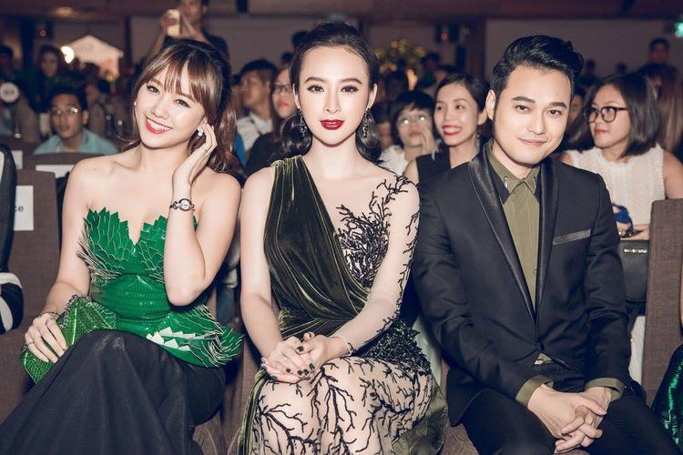 """""""Hoàng tử sơn ca"""" Quang Vinh khoe vẻ lịch lãm bên hai mỹ nhân xinh đẹp Hari Won và Angela Phương Trinh."""