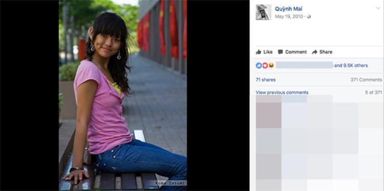 """Năm 2010, Mai Ngô bắt đầu lập Facebook, khi đó cô nàng khá """"bánh bèo"""" với áo hồng, tóc buộc lệch một bên."""