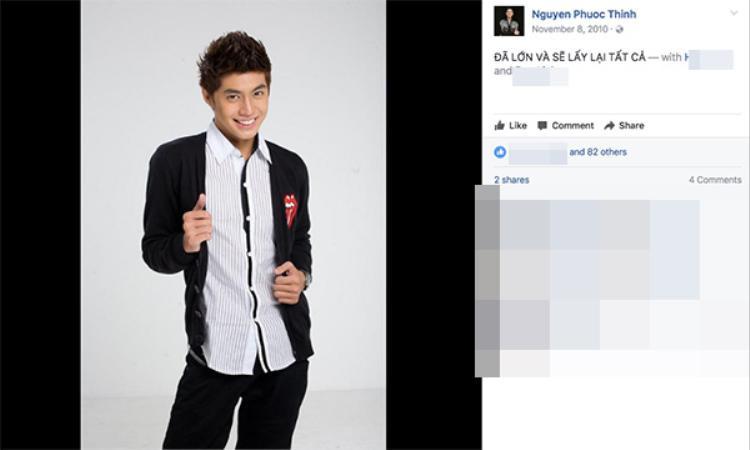 Noo Phước Thịnh lập Facebook từ năm 2009. Hình ảnh đại diện đầu tiên của nam ca sĩ cũng rất điển trai phải không?