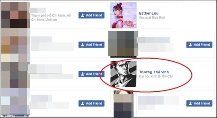 Trương Thế Vinh cũng là nam nghệ sĩ Việt (ngoài Trấn Thành) mà cô kết bạn trên facebook.