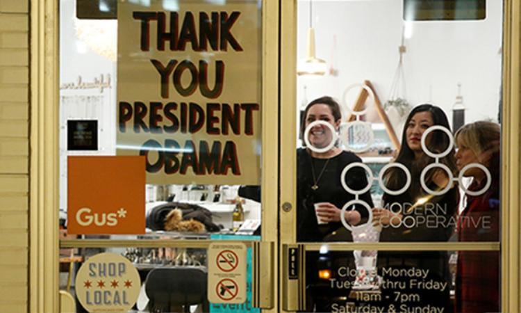 Cả thành phố Illinois, Chicago như ngập tràn trong không khí lễ hội tại thời điểm Tổng thống Obama có mặt ở nơi này.