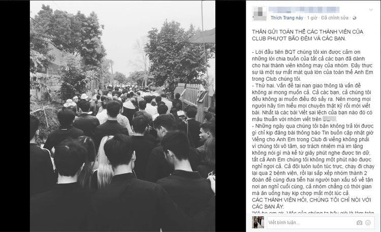 Bài viết của đại diện nhóm phượt trên trang fanpage về sự việc đã xảy ra.