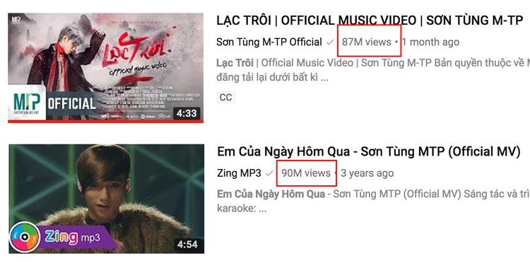 Lượt view lần lượt 87 triệu và 90 triệu của 2 hit khủng trong sự nghiệp âm nhạc Sơn Tùng.