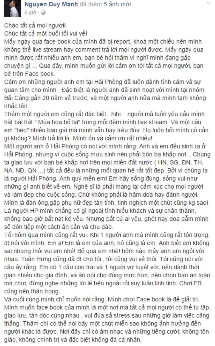 Chia sẻ mới nhất của Duy Mạnh. (Ảnh chụp từ facebook được cho là của ca sĩ Duy Mạnh. Chúng tôi đang liên hệ với nam ca sĩ để xác nhận thông tin trên).