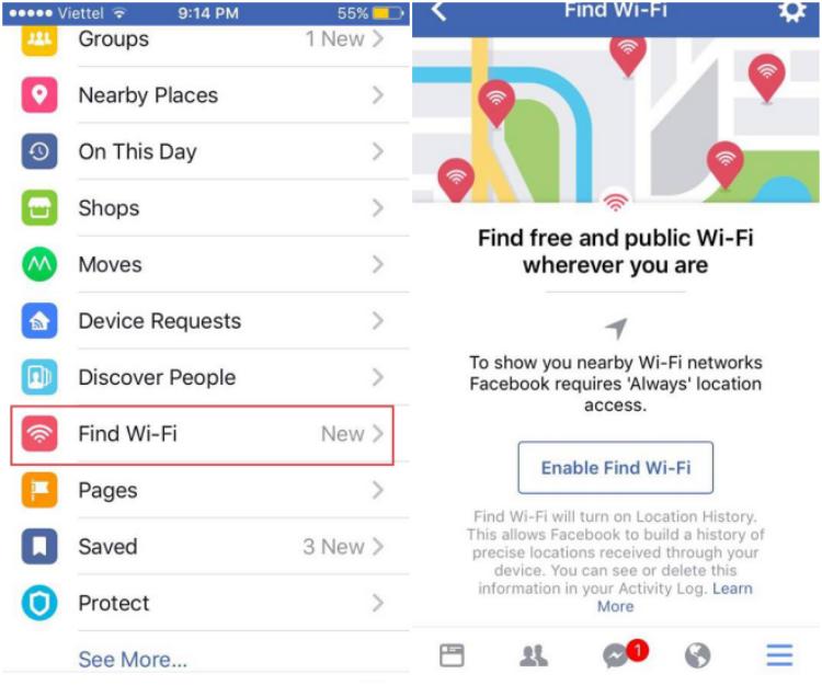 Để kích hoạt tính năng, bạn chỉ cần chọn mục Find Wifi (Tìm Wifi) và chọn Enable Find Wi-fi như hình. Rất đơn giản phải không.