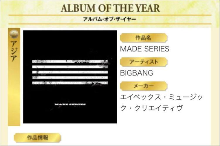 Album MADE nhận 2 giải Album xuất sắc nhất và Album của năm.