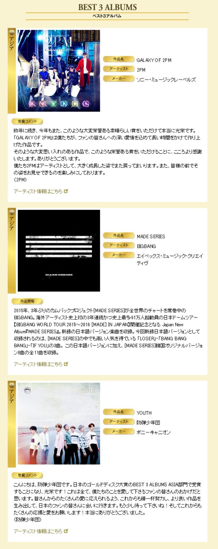 Album Youth - BTS và Galaxy Of 2PM - 2PM đồng nhận giải Album xuất sắc nhất.