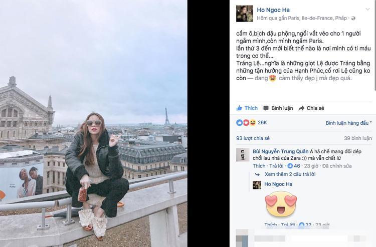 """Hồ Ngọc Hà mượn cảnh đẹp ở Paris để """"đá xéo"""" Lệ Quyên?.(Ảnh facebook được cho là của Hồ Ngọc Hà. Chúng tôi đang liên hệ với nữ ca sĩ để xác nhận thông tin trên)."""