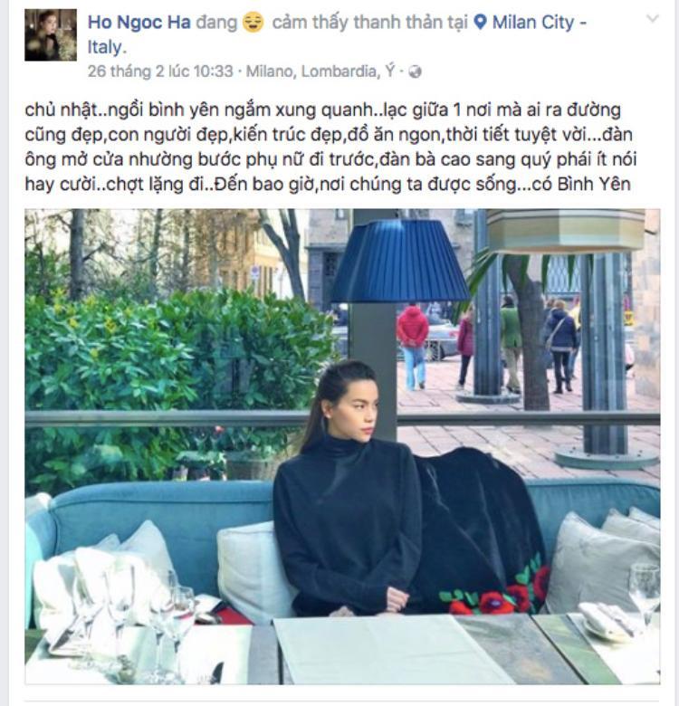 """Lệ Quyên - Hồ Ngọc Hà liên tục """"khẩu chiến"""" trên Facebook cá nhân. (Ảnh facebook được cho là của Hồ Ngọc Hà. Chúng tôi đang liên hệ với nữ ca sĩ để xác nhận thông tin trên)."""