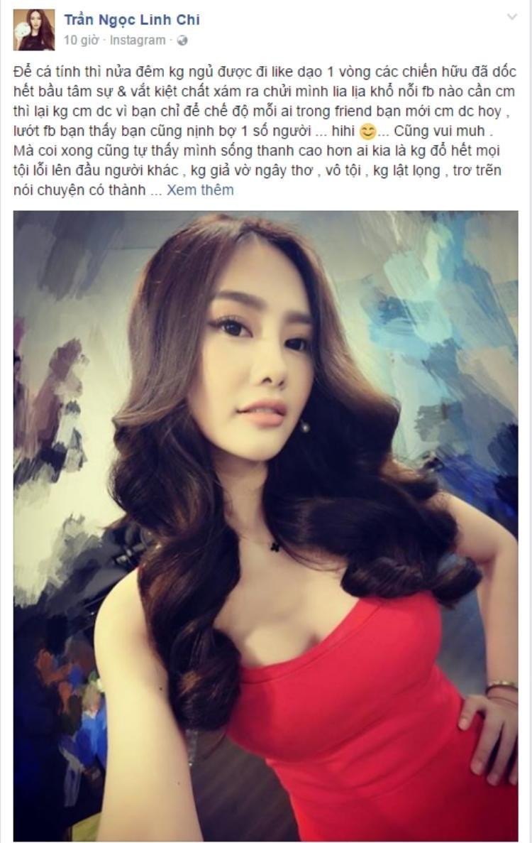 Linh Chi tiếp tục làm dậy sóng mạng xã hội với chia sẻ mới nhất. (Ảnh chụp từ facebook được cho là của Linh Chi. Chúng tôi đang liên hệ với Linh Chi để xác nhận thông tin trên).