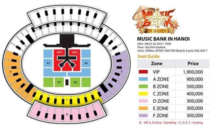 Giá vé Music Bank Hà Nội năm 2015 với sự góp mặt của EXO, SHINee, GOT7…