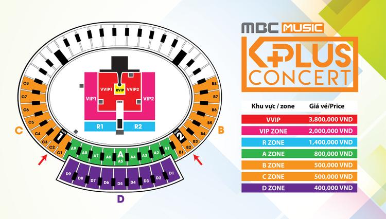 Và MBC Music K-Plus với EXID, SEVENTEEN, Apink…BTC cho biết trên thực tế, giá vé này đã được giảm 2 lần. Giá ban đầu đưa ra cho chỗ ngồi đắt giá nhất là 5 triệu, thấp nhất 500k.
