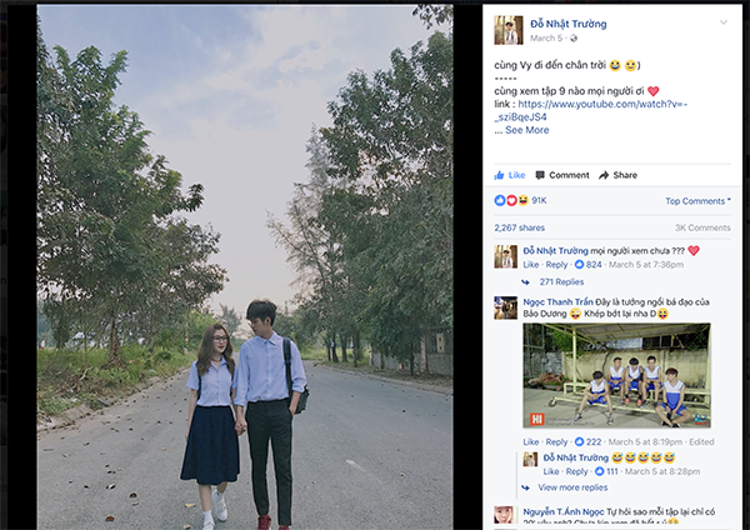 Bức ảnh Trường chụp cùng bạn diễn với vài dòng caption giản đơn nhưng thu hút đến hơn 90 nghìn lượt like!