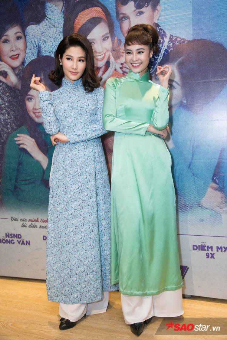 Hai quý cô Ninh Dương Lan Ngọc - Diễm My 9X cùng đọ sắc trong tà áo dài.