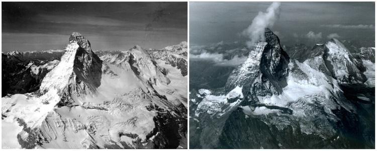 Hình ảnh đỉnh núi Matterhorn thuộc dãy Alps, giữa biên giới Thuyh Sỹ và Italia từ năm 1960 (trái) và tháng 8/20065 (phải). Lượng băng trên đỉnh núi đã giảm khá nhiều.
