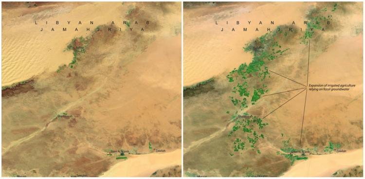 Để khắc phục tình trạng thiếu nước, chính quyền Libya đã cho xây một dòng sông nhân tạo. Hình ảnh vệ tinh năm 1987 (trái, khi dòng sông chưa khởi công) và năm 2010 (phải, khi công trình đã hoàn thành) cho thấy vùng đất này dần dần được phủ xanh. Đây quả là dấu hiệu đáng mừng.
