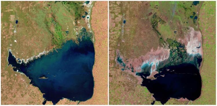 Hồ Mar Chiquita ở Argentina. từ tháng 7/1998 đến tháng 9/2011. Nhìn bằng mắt thường cũng thấy diện tích hồ chỉ còn một nữa trong 14 năm.