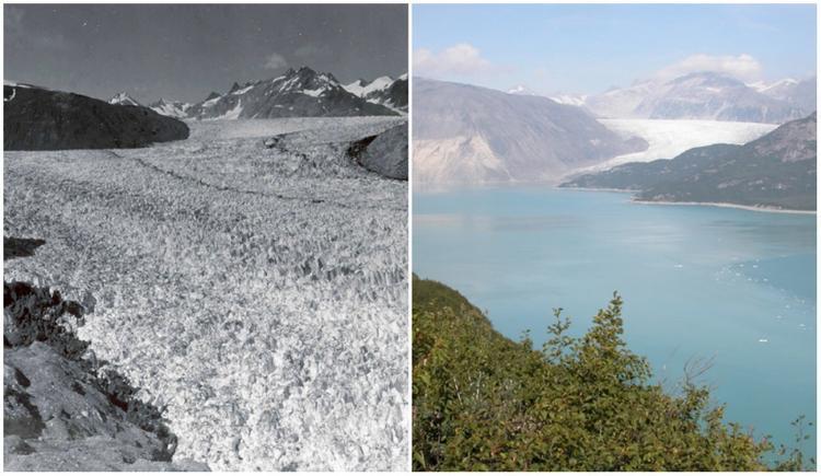 Dòng sông băng ở Alaska mất hàng ngàn năm hình thành. Nhưng chỉ sau 63 năm (từ 1941 đến 2004), nơi đây đã biến thành dòng sông bình thường.